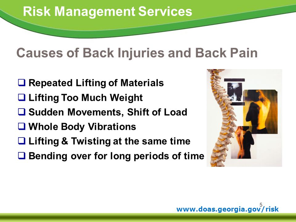 Causes of Back Injuries and Back Pain