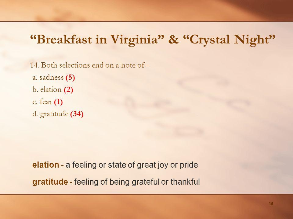 Breakfast in Virginia & Crystal Night