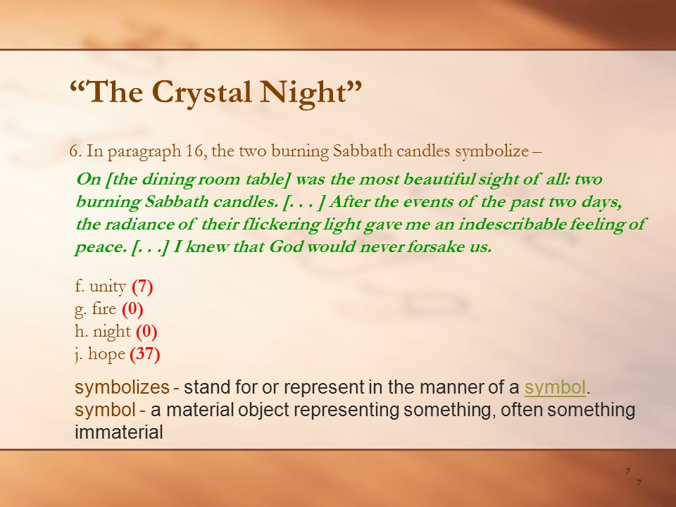 The Crystal Night 6. In paragraph 16, the two burning Sabbath candles symbolize –