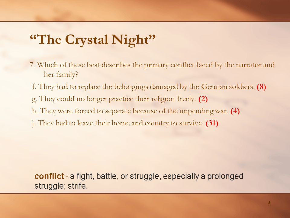 The Crystal Night 7. Which of these best describes the primary conflict faced by the narrator and her family