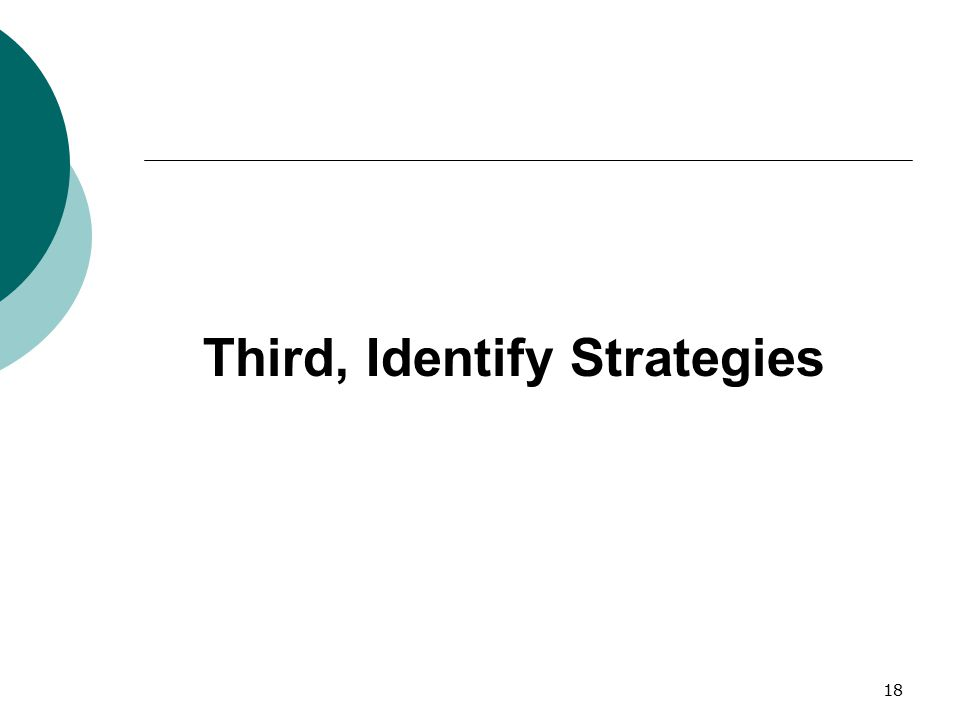 Third, Identify Strategies