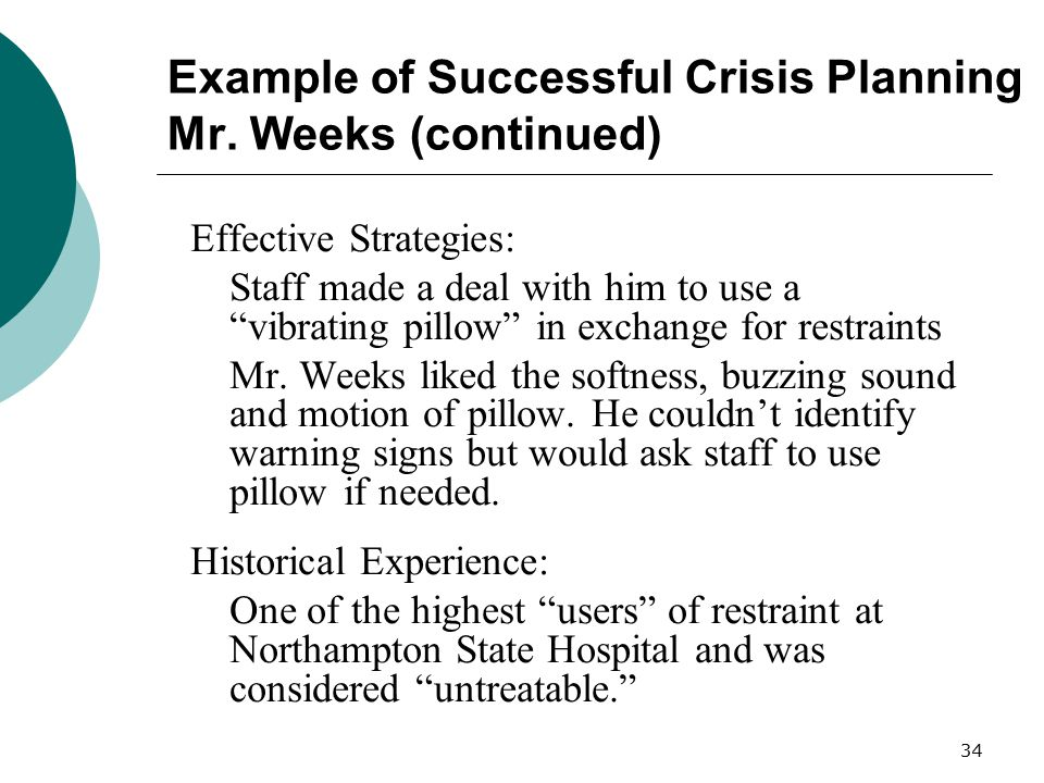 Example of Successful Crisis Planning Mr. Weeks (continued)
