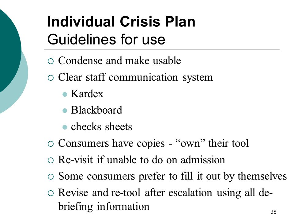 Individual Crisis Plan Guidelines for use