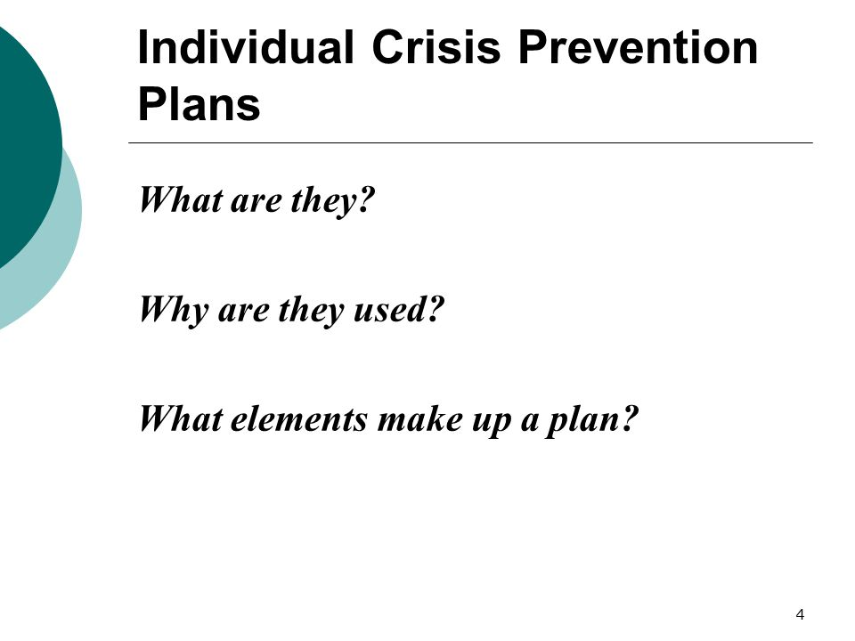 Individual Crisis Prevention Plans