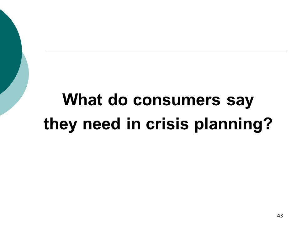 they need in crisis planning
