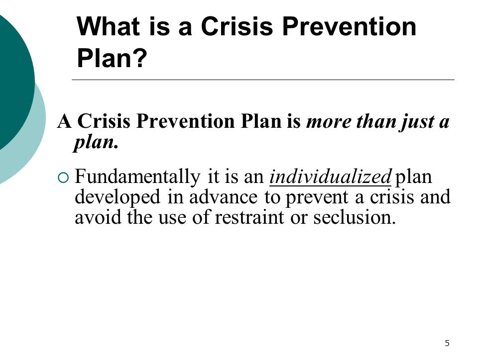 What is a Crisis Prevention Plan