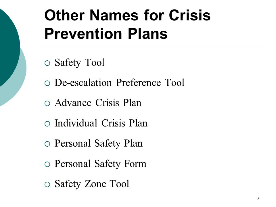 Other Names for Crisis Prevention Plans