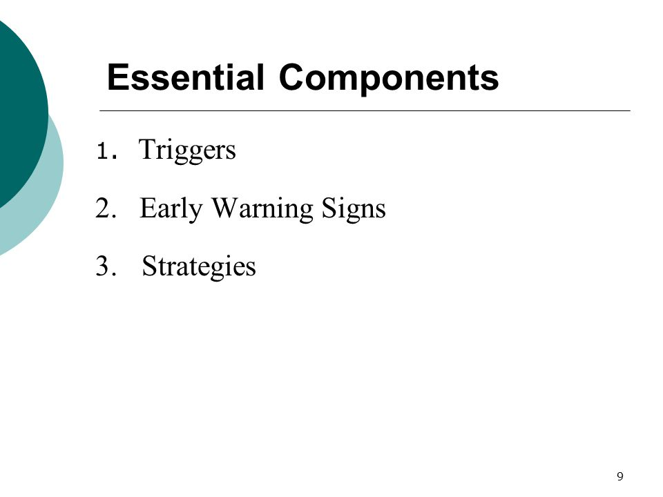 Essential Components 2. Early Warning Signs 3. Strategies 1. Triggers