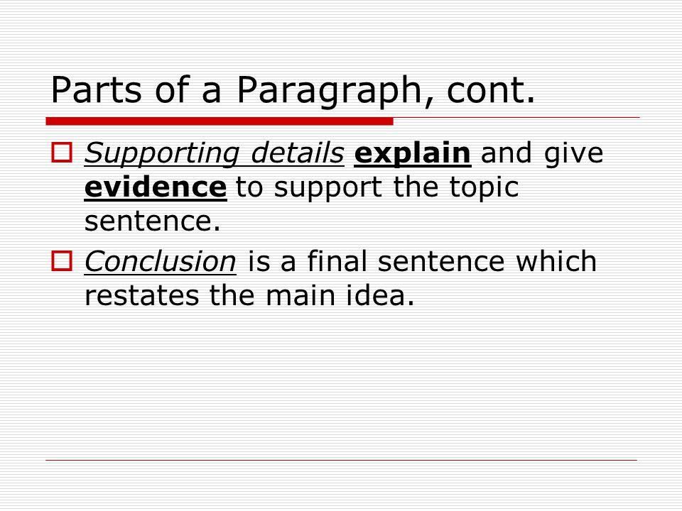 Parts of a Paragraph, cont.