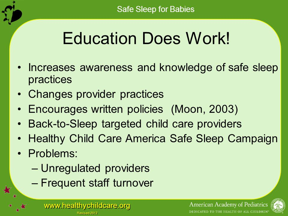 Education Does Work! Increases awareness and knowledge of safe sleep practices. Changes provider practices.