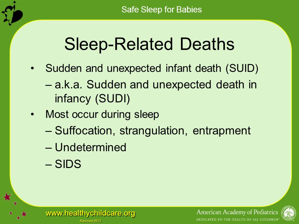 Sleep-Related Deaths Sudden and unexpected infant death (SUID) a.k.a. Sudden and unexpected death in infancy (SUDI)