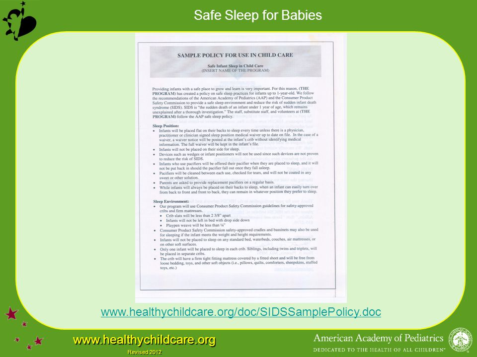 www.healthychildcare.org/doc/SIDSSamplePolicy.doc