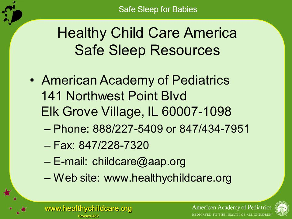 Healthy Child Care America Safe Sleep Resources