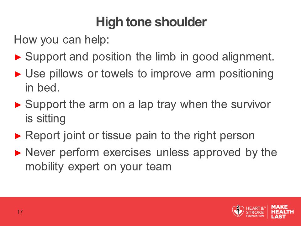 High tone shoulder How you can help: