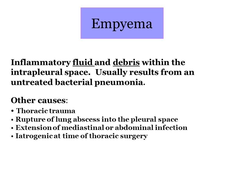 Empyema Inflammatory fluid and debris within the intrapleural space. Usually results from an untreated bacterial pneumonia.