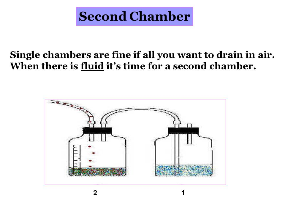 Second Chamber Single chambers are fine if all you want to drain in air. When there is fluid it's time for a second chamber.