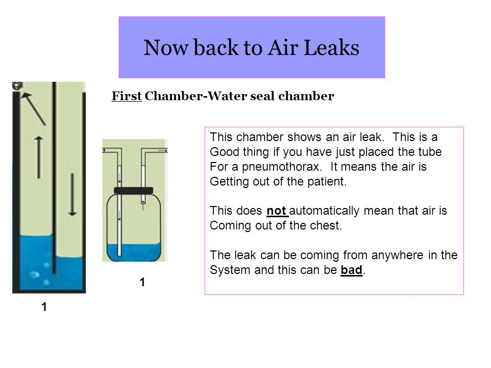 Now back to Air Leaks First Chamber-Water seal chamber
