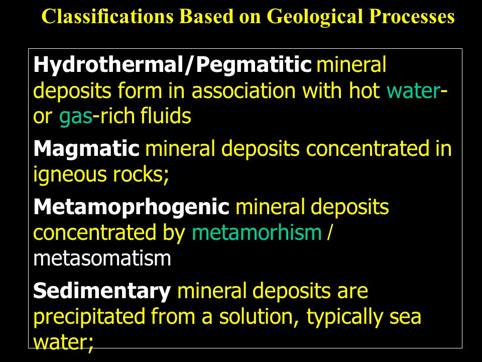 Classifications Based on Geological Processes