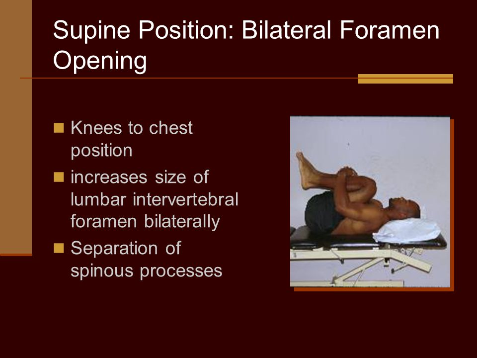 Supine Position: Bilateral Foramen Opening