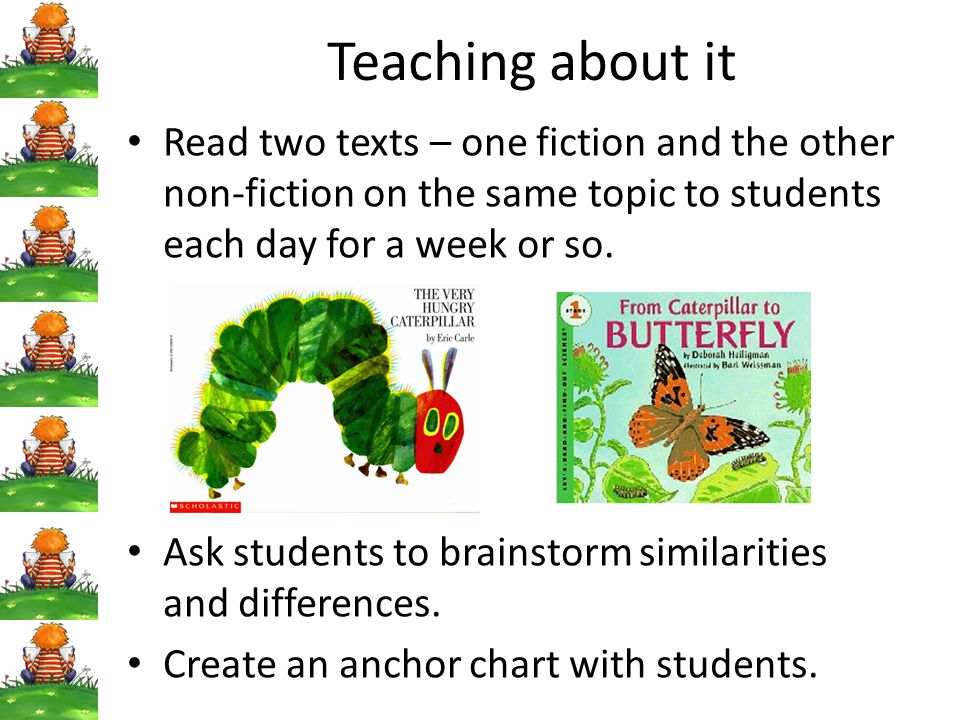 Teaching about it Read two texts – one fiction and the other non-fiction on the same topic to students each day for a week or so.