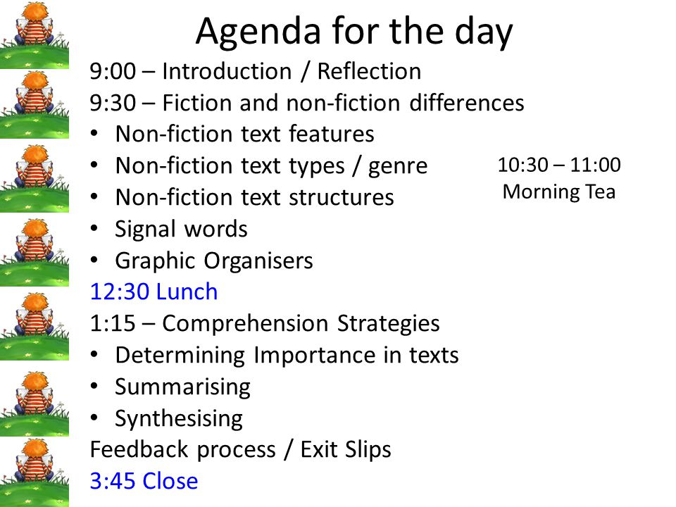 Agenda for the day 9:00 – Introduction / Reflection