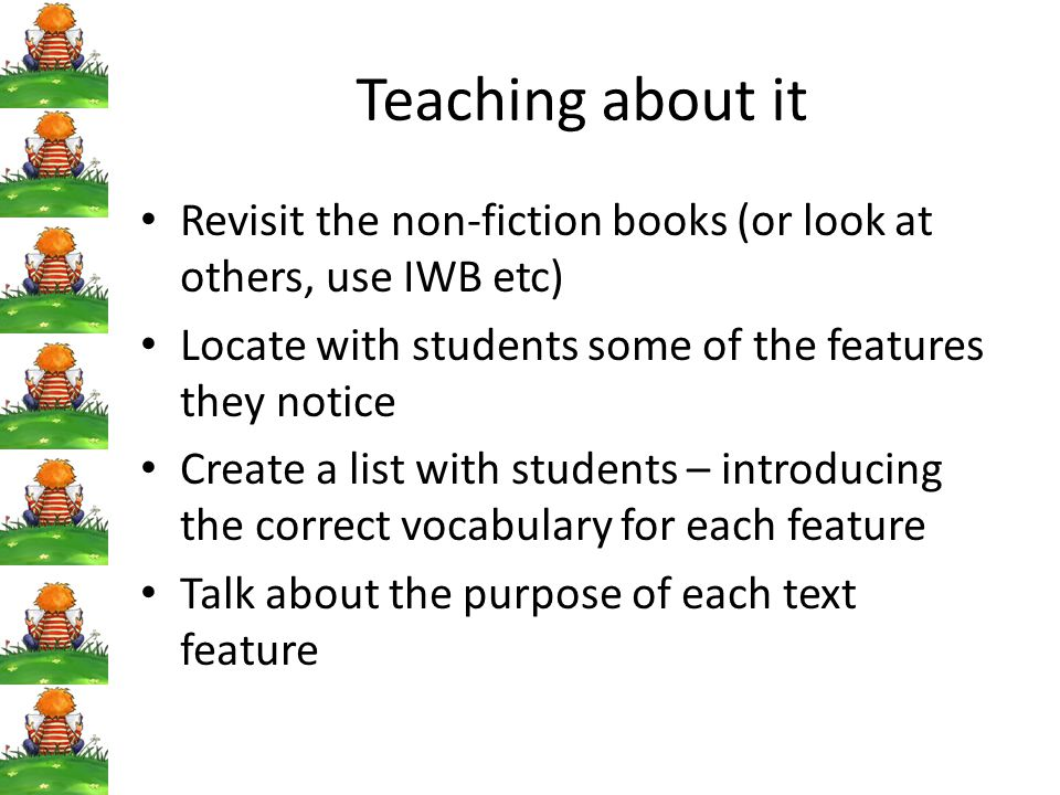 Teaching about it Revisit the non-fiction books (or look at others, use IWB etc) Locate with students some of the features they notice.