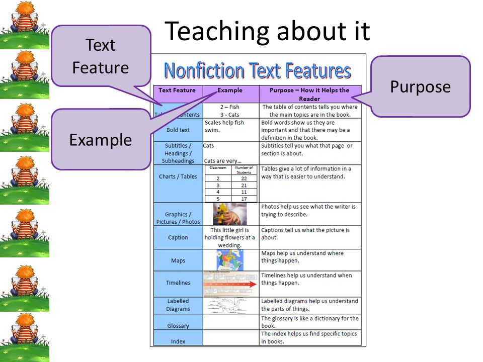 Teaching about it Text Feature Purpose Example