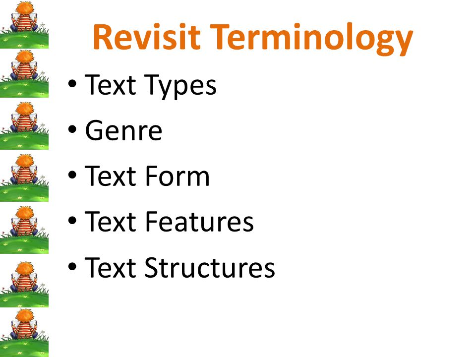 Revisit Terminology Text Types Genre Text Form Text Features