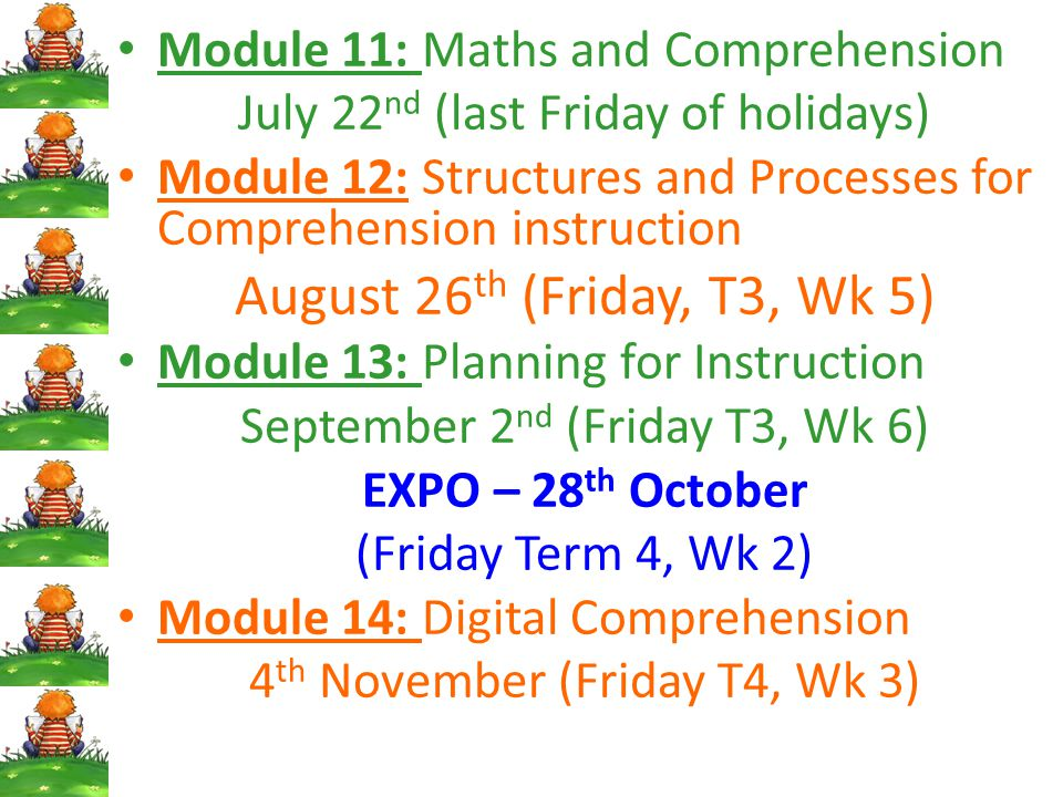 August 26th (Friday, T3, Wk 5) Module 11: Maths and Comprehension