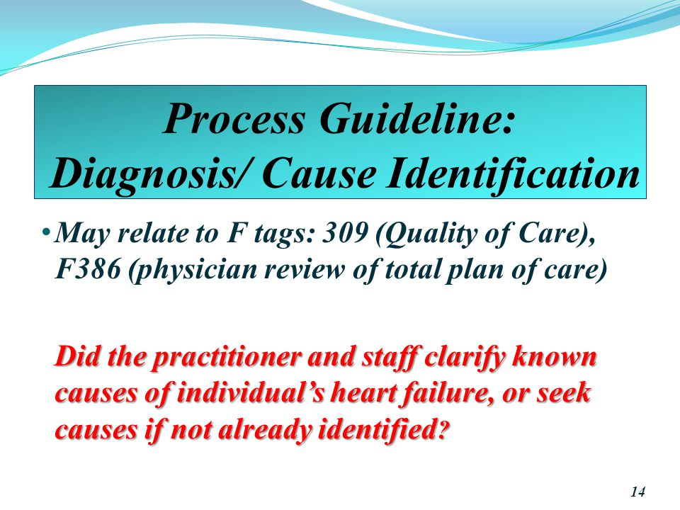 Process Guideline: Diagnosis/ Cause Identification