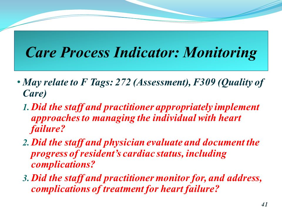 Care Process Indicator: Monitoring