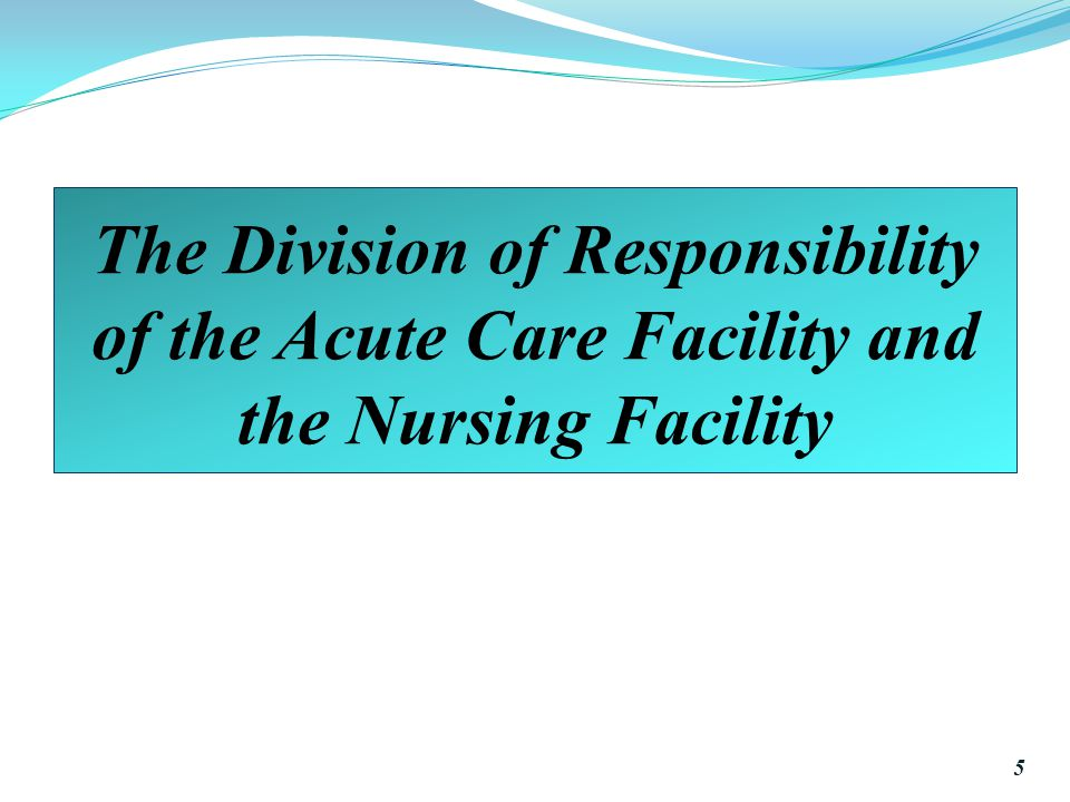 The Division of Responsibility of the Acute Care Facility and the Nursing Facility