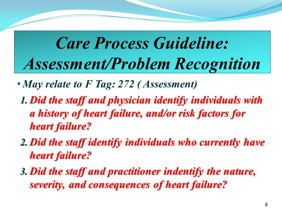 Care Process Guideline: Assessment/Problem Recognition