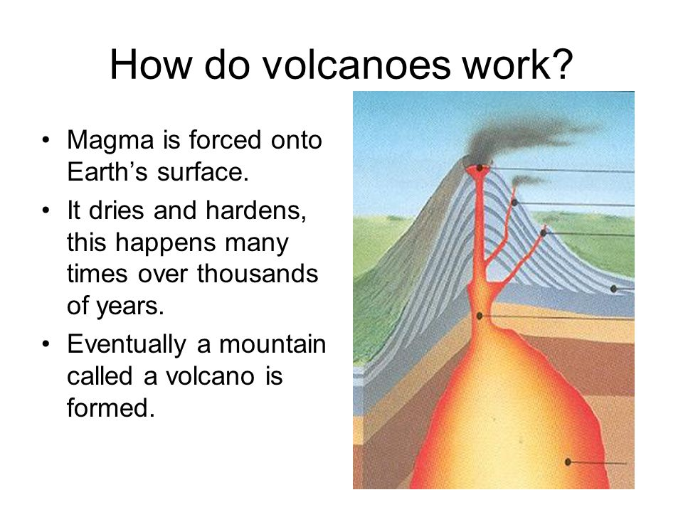 How do volcanoes work Magma is forced onto Earth's surface.