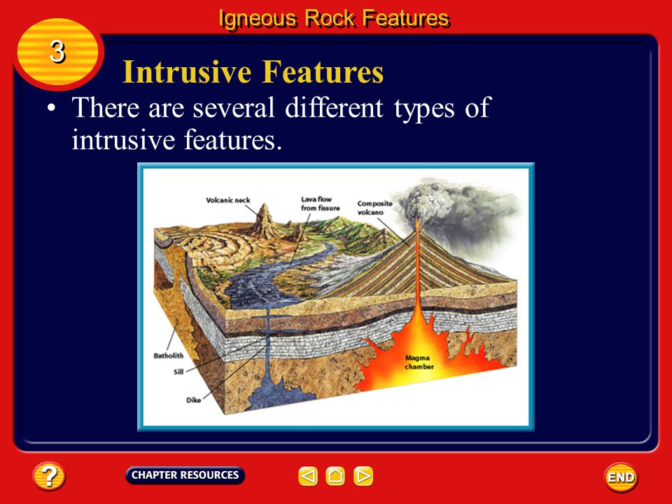 Igneous Rock Features 3 Intrusive Features There are several different types of intrusive features.