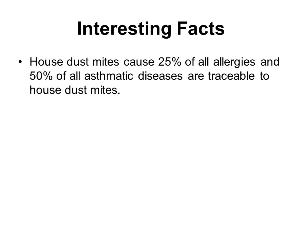 Interesting Facts House dust mites cause 25% of all allergies and 50% of all asthmatic diseases are traceable to house dust mites.