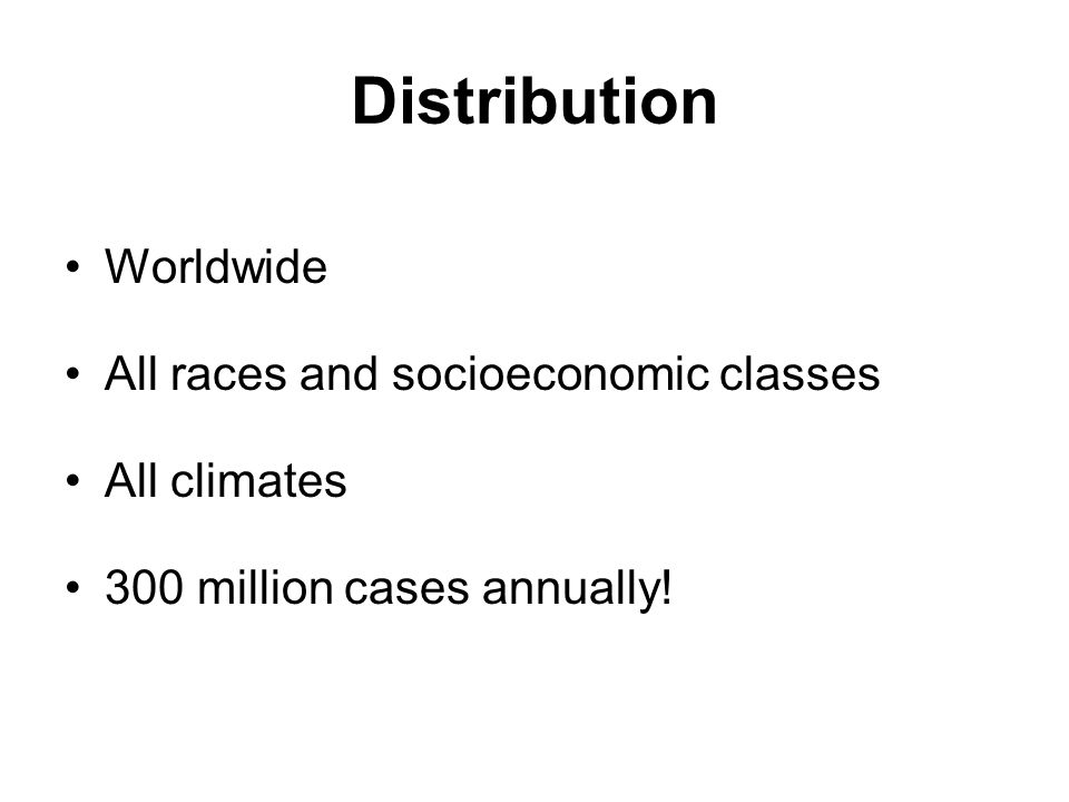 Distribution Worldwide All races and socioeconomic classes