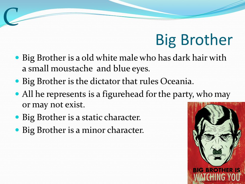 C Big Brother. Big Brother is a old white male who has dark hair with a small moustache and blue eyes.