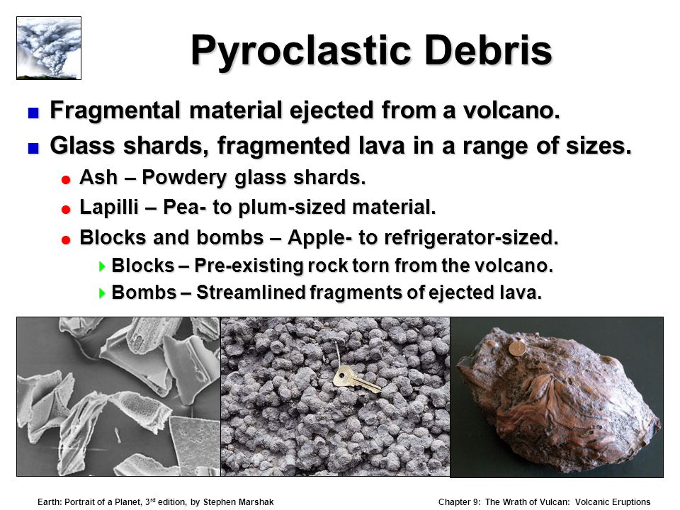 Pyroclastic Debris Fragmental material ejected from a volcano.