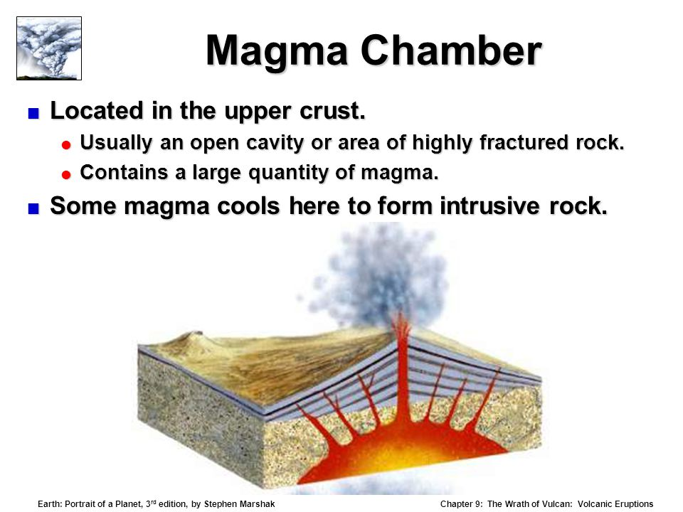 Magma Chamber Located in the upper crust.