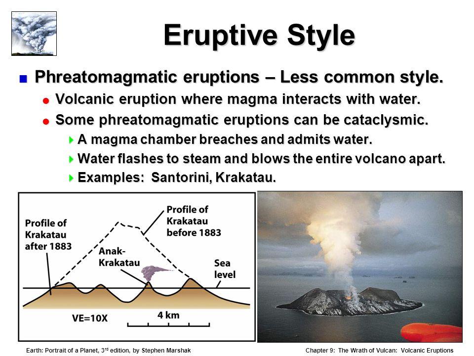 Eruptive Style Phreatomagmatic eruptions – Less common style.