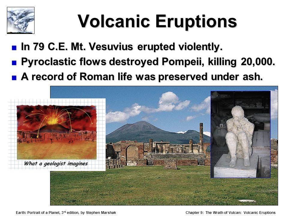 Volcanic Eruptions In 79 C.E. Mt. Vesuvius erupted violently.
