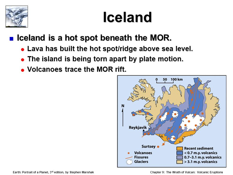 Iceland Iceland is a hot spot beneath the MOR.