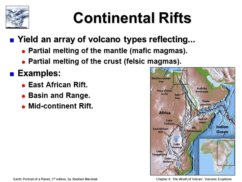 Continental Rifts Yield an array of volcano types reflecting...