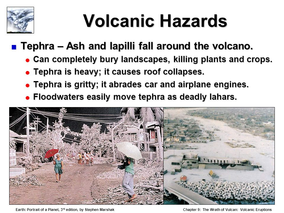 Volcanic Hazards Tephra – Ash and lapilli fall around the volcano.