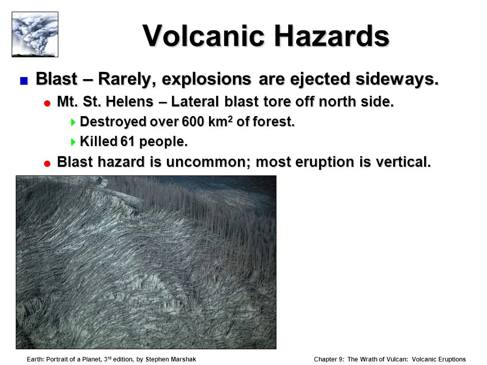 Volcanic Hazards Blast – Rarely, explosions are ejected sideways.