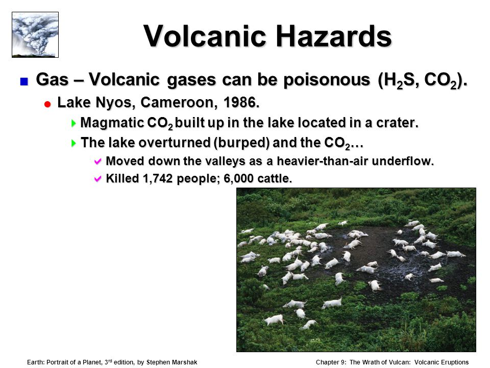Volcanic Hazards Gas – Volcanic gases can be poisonous (H2S, CO2).