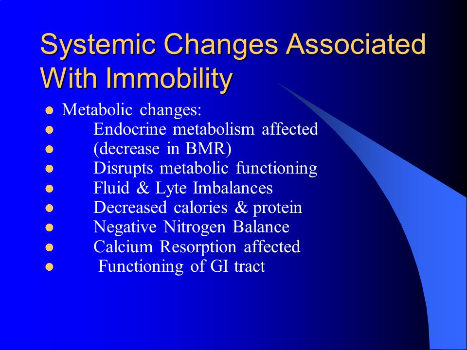 Systemic Changes Associated With Immobility