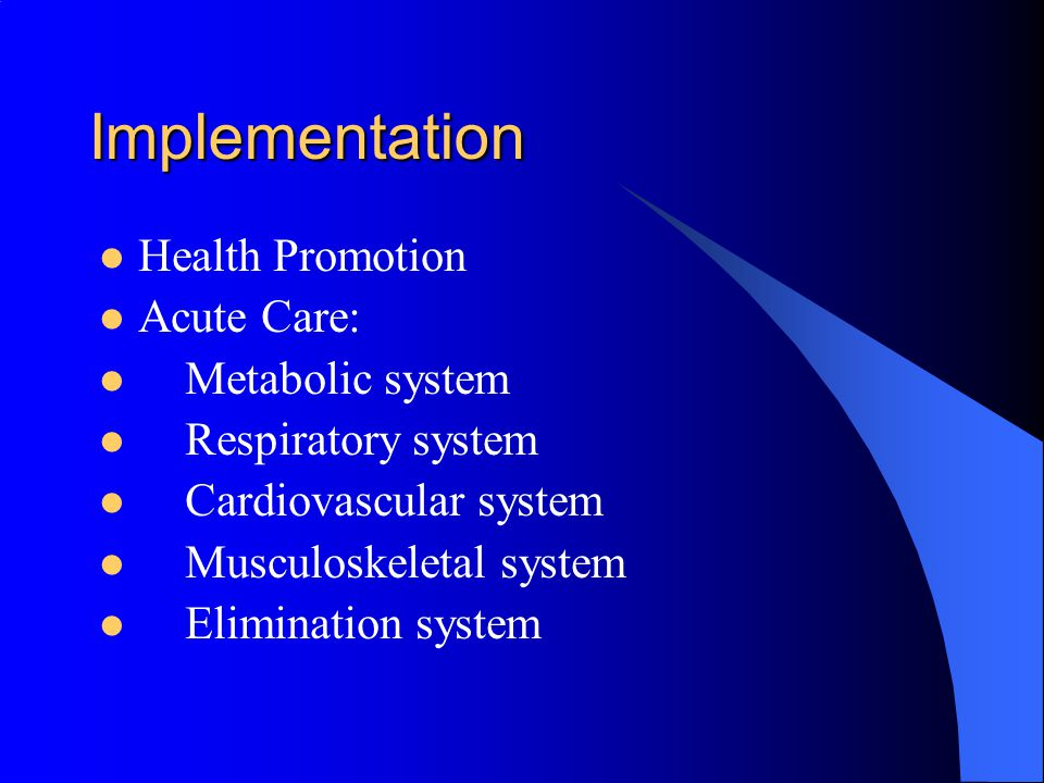 Implementation Health Promotion Acute Care: Metabolic system