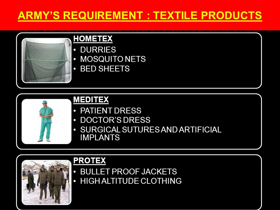 ARMY'S REQUIREMENT : TEXTILE PRODUCTS